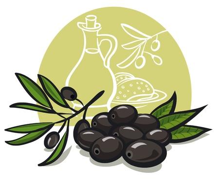 olive oil bottle: black olives with leaves Illustration