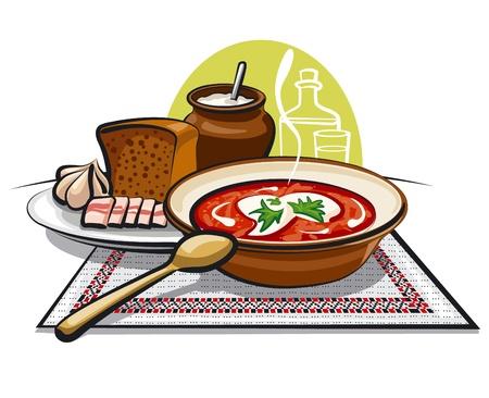 lard: borscht soup and lard with garlic