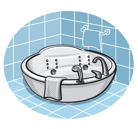Jacuzzi in a bathroom Illustration