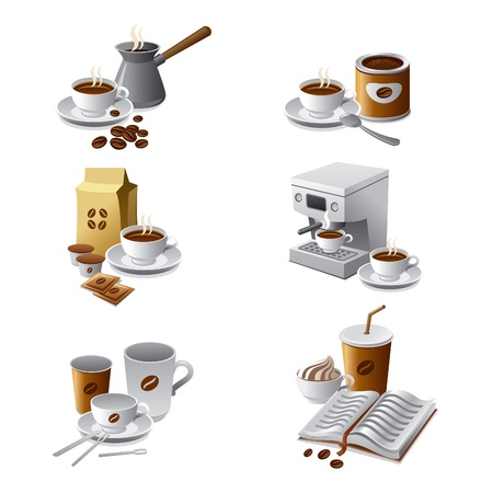 espresso machine: coffee icon set