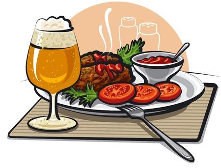 main dishes: cerveza, Chuletas y salsa