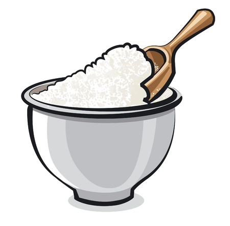 scoop: Flour in a bowl