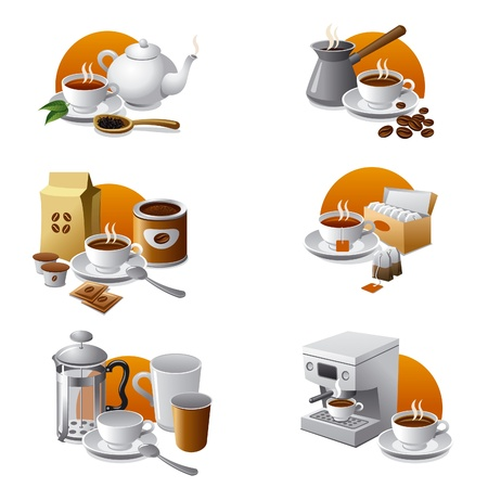 green coffee beans: coffee and tea icon set