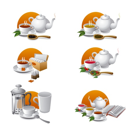 steam of a leaf: set of tea icons