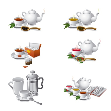 steam of a leaf: set of tea web icons