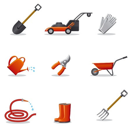 garden tools icon set Stock Vector - 18004437