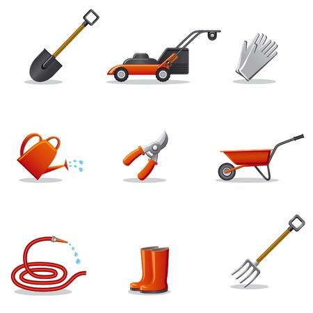 carretilla: herramientas de jardín conjunto de iconos
