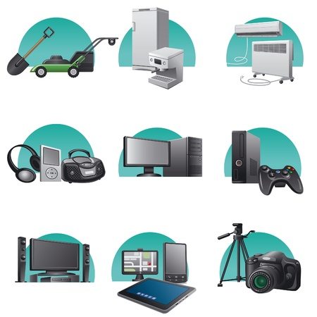 playstation: household and electronic appliances icon set