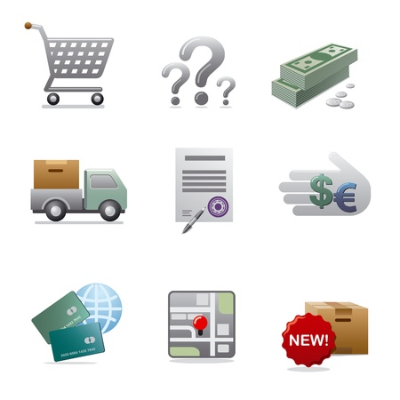 warranty questions: shopping icon set