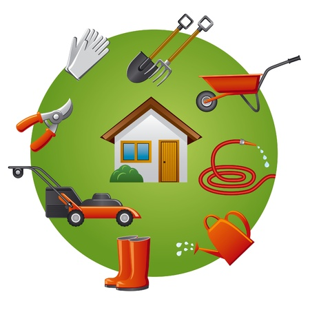 gardening equipment: garden tools icon set