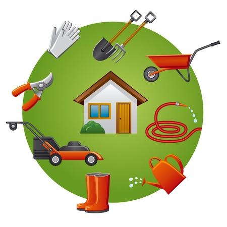 manguera: herramientas de jard�n conjunto de iconos