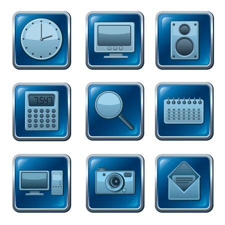 computer applications buttons Vector