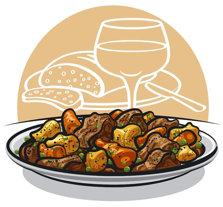 Beef stew with vegetables  Vector