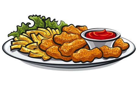 baked potatoes: breaded chicken nuggets and french fries with sauce  Illustration