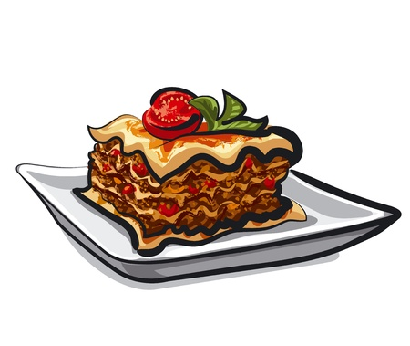 fresh italian baked lasagna  矢量图像