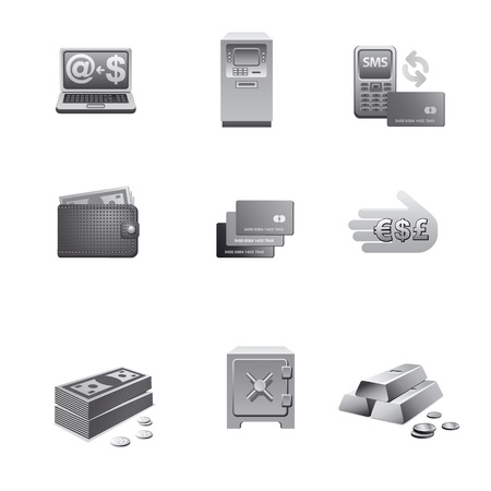 grayscale: banking icon set grayscale monochrome