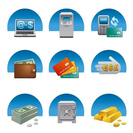 bank transfer: banking icon set Illustration