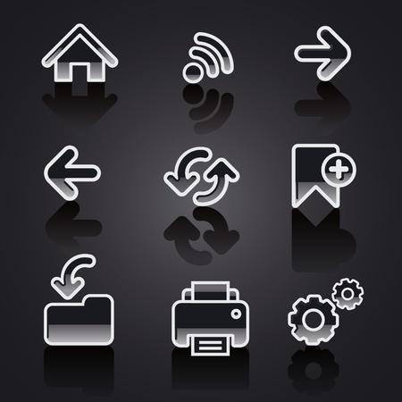 glossy web navigation icon set Stock Vector - 18707183