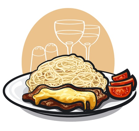barbecue ribs: pasta and baked meat with cheese Illustration