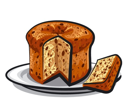 fruitcakes: raisins cake panettone