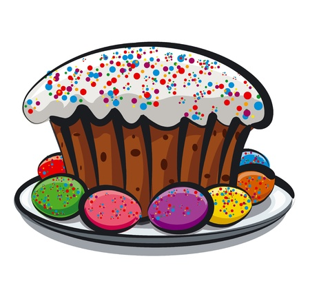 russian food: Easter eggs and cake Illustration