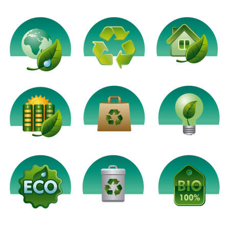 eco y bio icon set