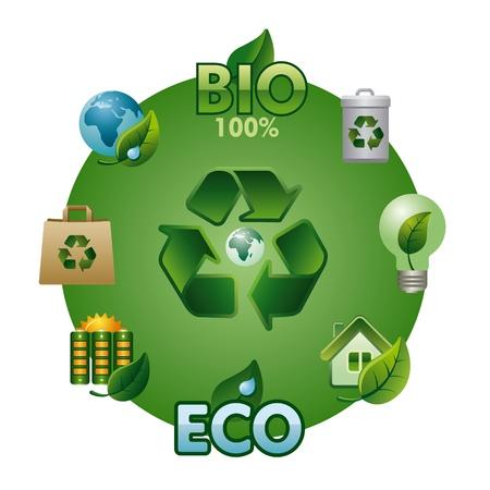 eco and bio icon set Vector