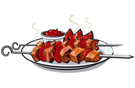 grilled kebab Stock Vector - 18903932