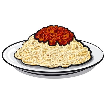 macaroni: Spaghetti met saus Stock Illustratie