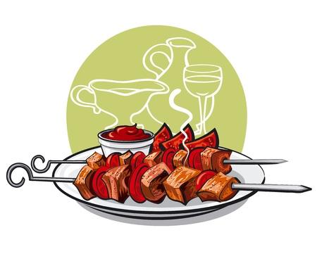 kebab: grilled meat kebab with tomatoes