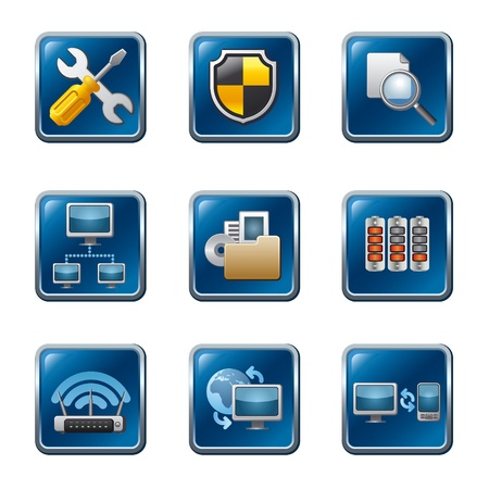 computer network buttons icon set  Stock Vector - 18903963
