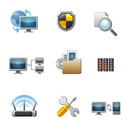 computer network icon set Stock Vector - 18903949