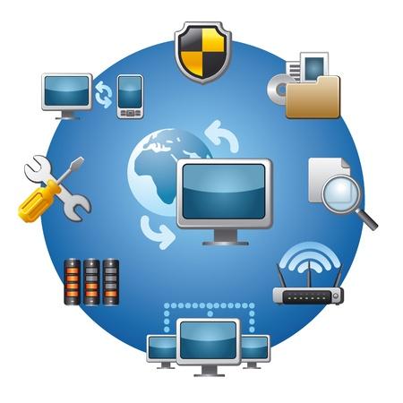 computer network icon set Stock Vector - 18903958