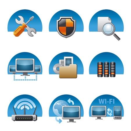 computer support: computer di rete set di icone Vettoriali