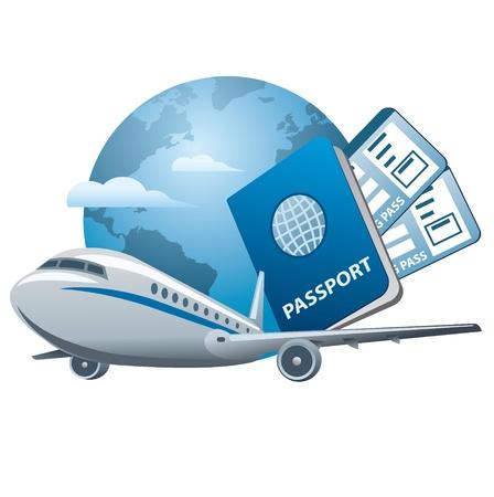 air ticket: air travel concept