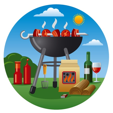 bbq: barbecue icon Illustration