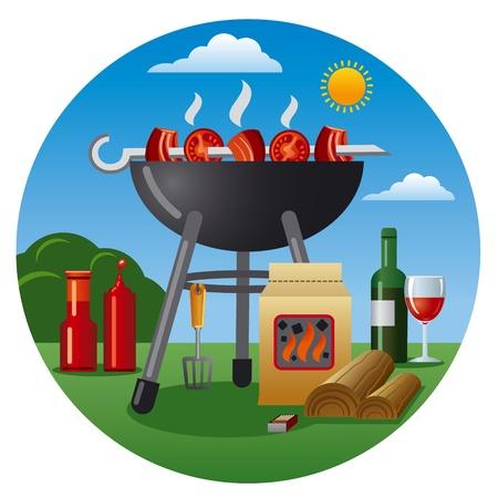 carne a la brasa: icono de la barbacoa Vectores