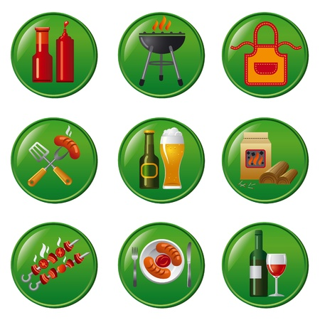 barbecue icon set buttons Vector