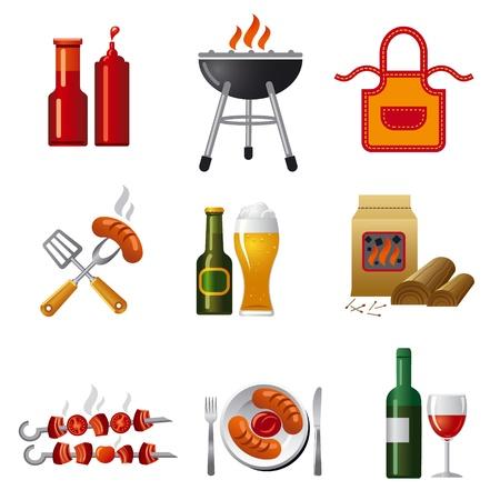 chorizos asados: barbacoa conjunto de iconos