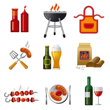 bbq picnic: barbecue icon set Illustration
