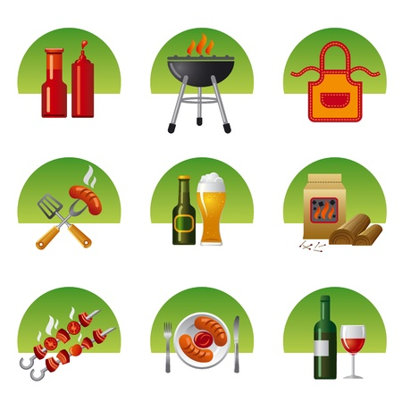 charcoal grill: barbecue icon set Illustration