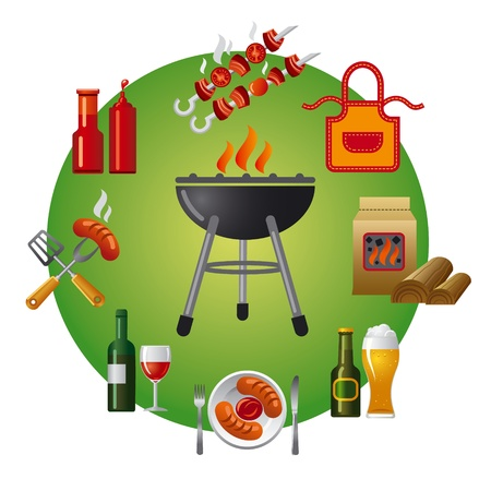 dinner party: barbecue icon Illustration