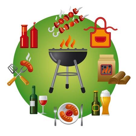 steak plate: icono de la barbacoa Vectores