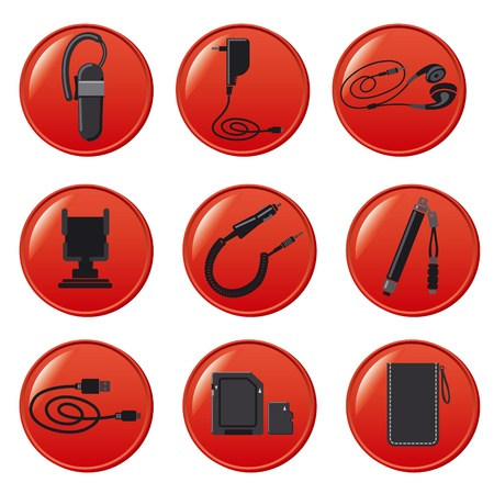 Mobile devices accessories buttons Stock Vector - 19234364