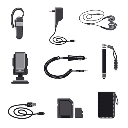 cell charger: Mobile devices accessories icon set Illustration