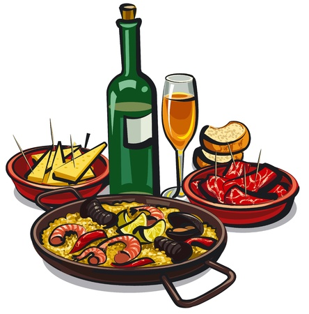spanish food: spanish cousine, paella with appetizers and wine