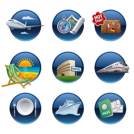 symbol tourism: Travel icon set buttons Illustration