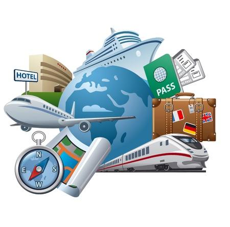 valise voyage: Voyage et icône de la notion de tourisme
