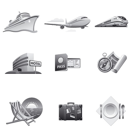 Travel icon set gray