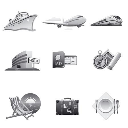aerei: Viaggio set di icone grigio